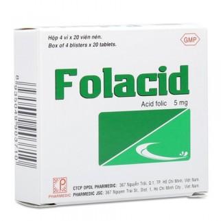 Thuốc trị thiếu hụt hợp chất Folac axit, thiếu máu Folaccid