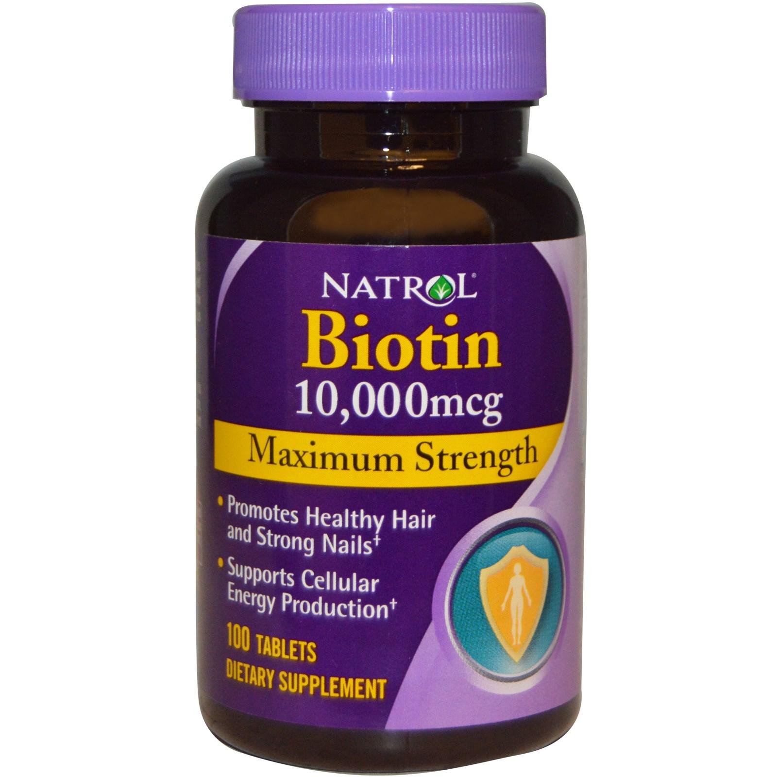 Viên uống hỗ trợ mọc tóc Natrol Biotin 10000mcg