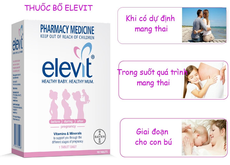 Viên Uống Elevit Bổ Sung Vitamin Cho Bà Bầu Hộp 100 Viên