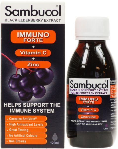 Siro Tăng Đề Kháng Sambucol Immuno Forte 120ml (trên 3 Tuổi)