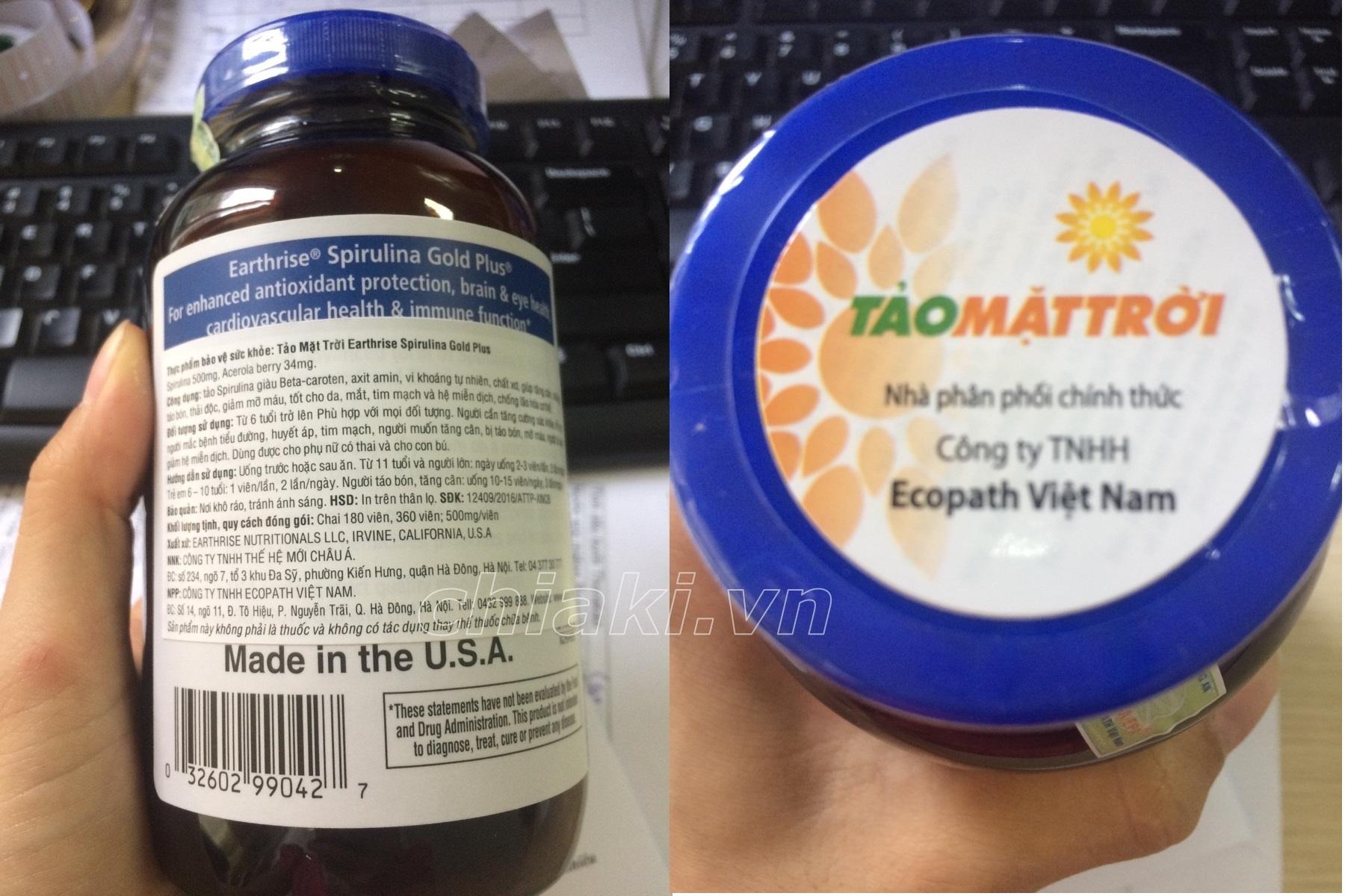 Tảo Mặt Trời Spirulina Gold Plus Chính Hãng Của Mỹ