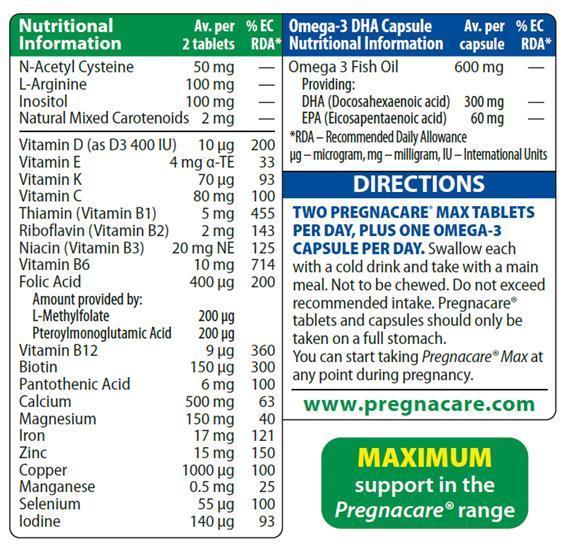 Vitamin Bà Bầu Pregnacare Max Của Anh Hộp 84 Viên