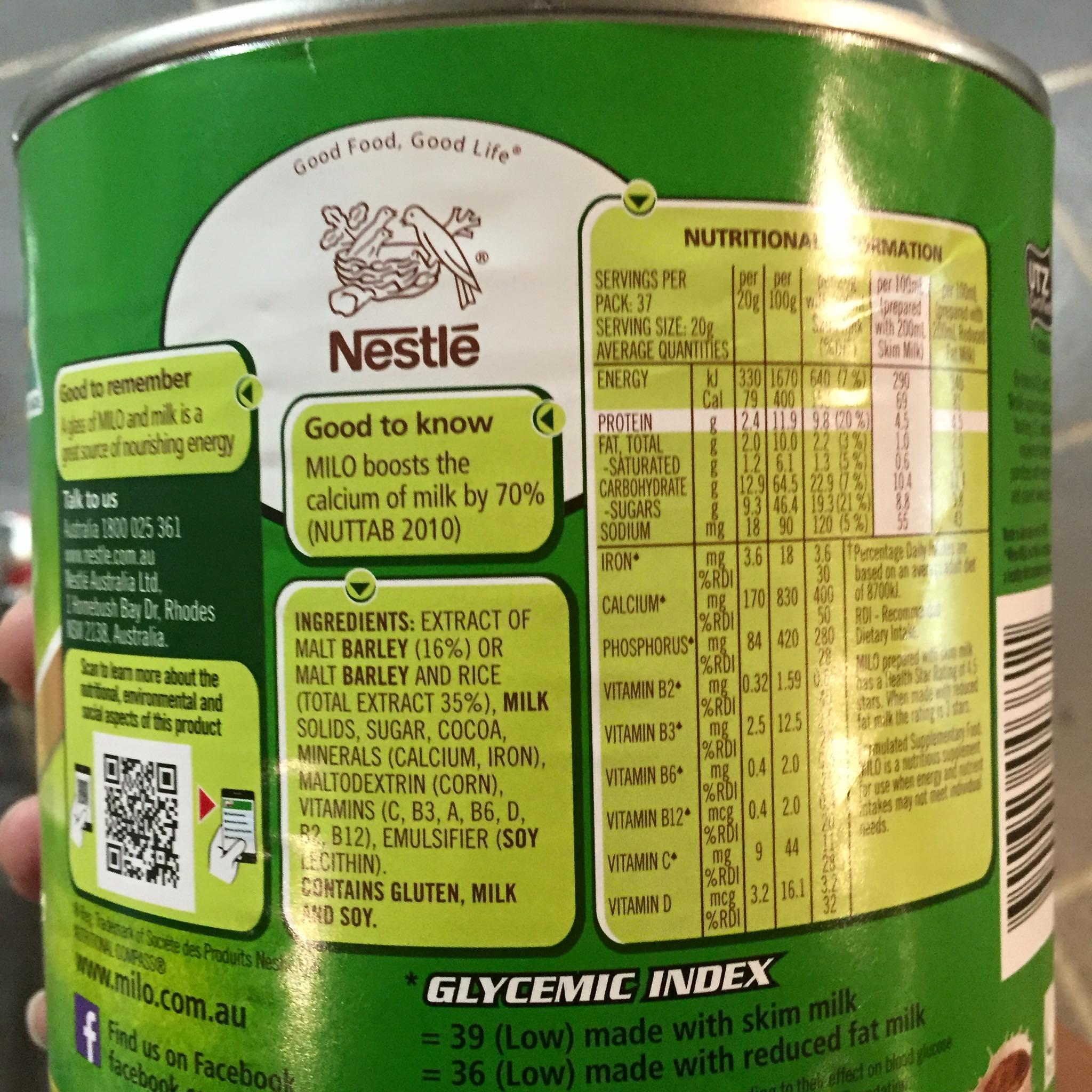 Sữa Milo Úc Nestle Giàu Năng Lượng
