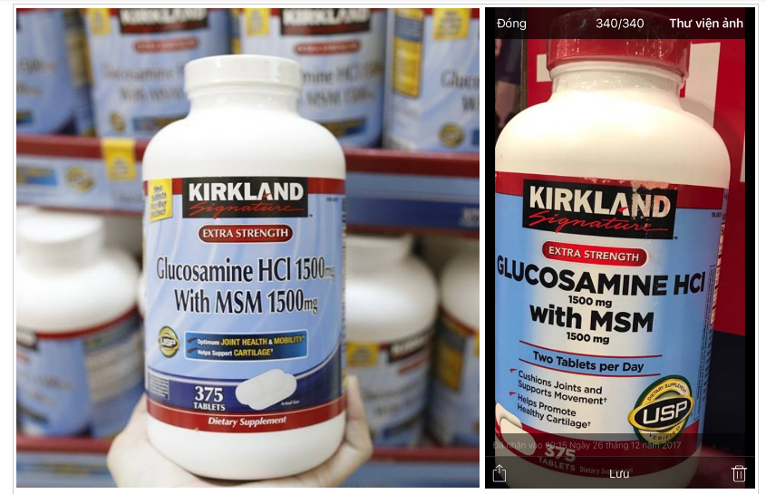 Glucosamine HCL 1500mg Kirkland With MSM 1500mg 375 Viên
