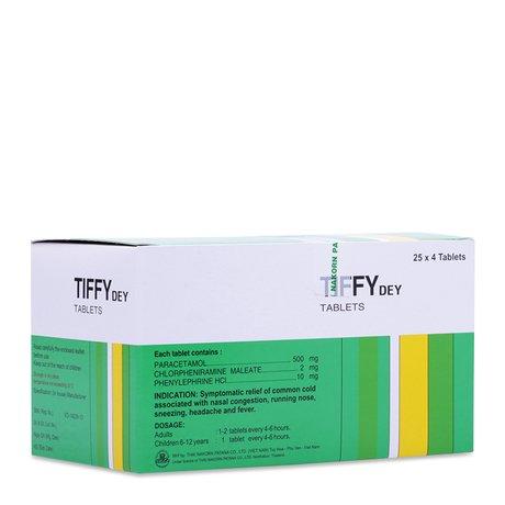 Thuốc Điều Trị Các Chứng Cảm Cúm Tiffy Dey (25 Vỉ X 4 Viên)
