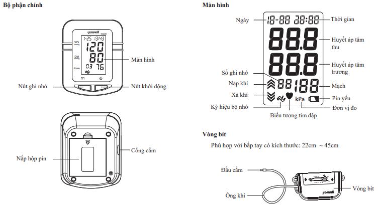 Máy đo huyết áp điện tử bắp tay Yuwell YE660B