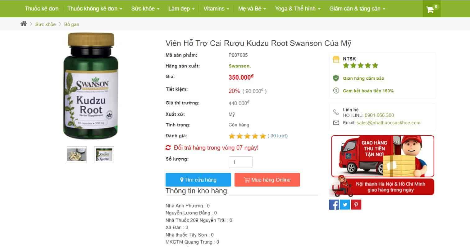 Viên Uống Cai Rượu Kudzu Root Swanson Có Hiệu Quả Không? Hướng Dẫn Sử Dụng Đúng?